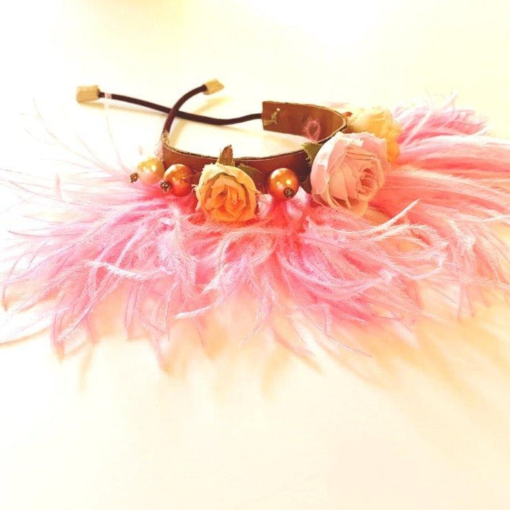 Single light pink feathered bracelet with leather, silk roses and faux pearls