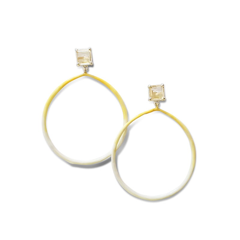 Love and Hope Emerald cut citrine post, tapered, enameled silver hoop earrings