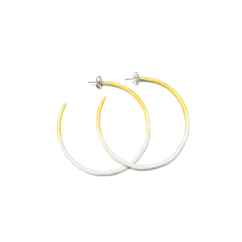 "Love and Hope medium, 2.5"", tapered sterling silver, enamel hoop"