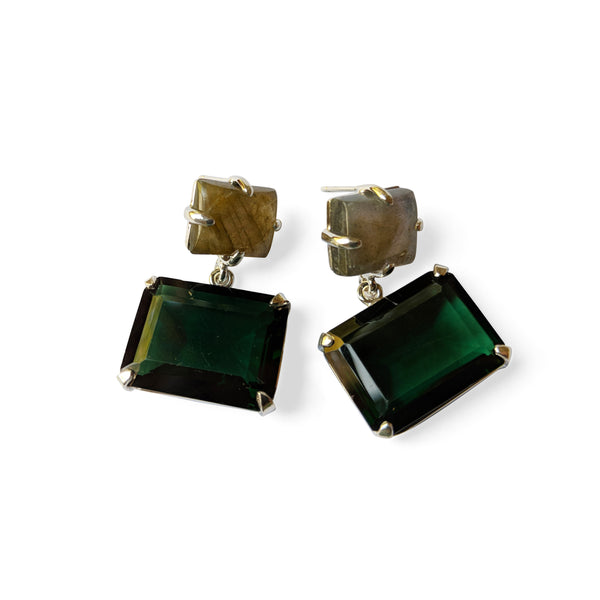 Labradorite post, emerald cut emerald quartz earrings