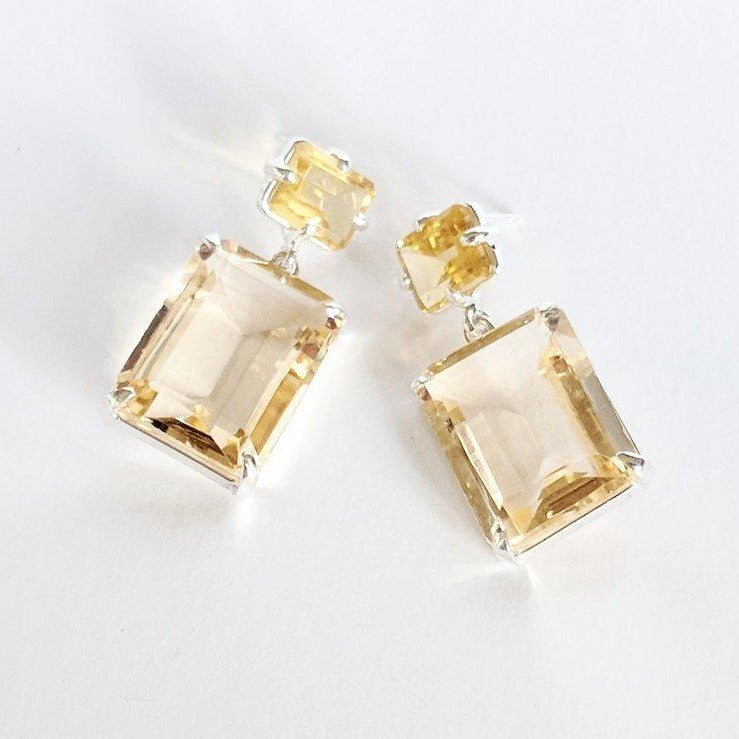 Citrine emerald cut post, citrine drop earring