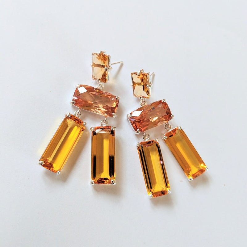 Yellow quartz, mystic quartz, orange quartz earrings