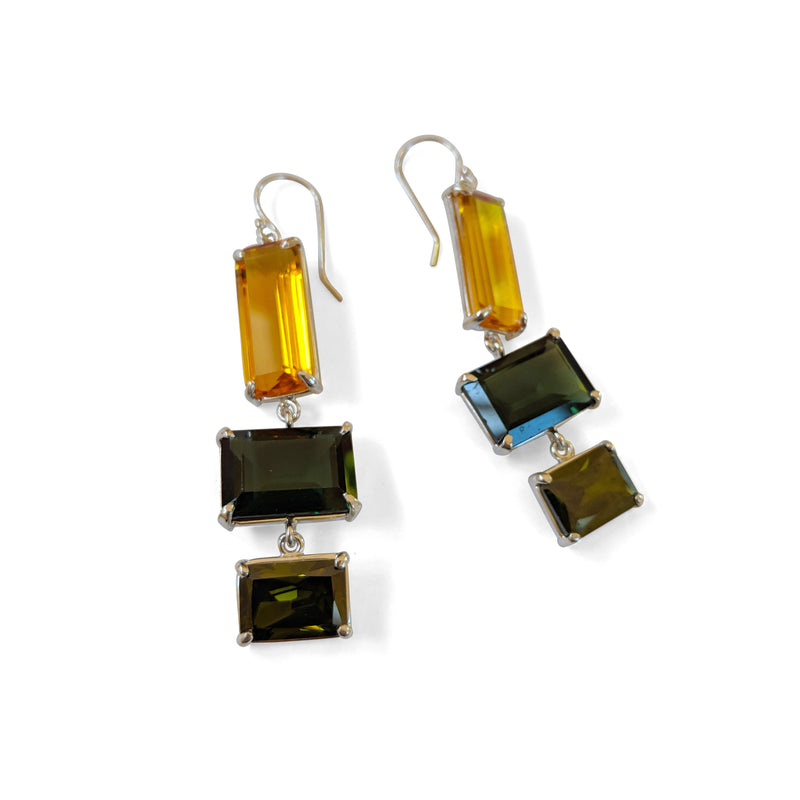 Orange quartz, emerald quartz, olive quartz earring
