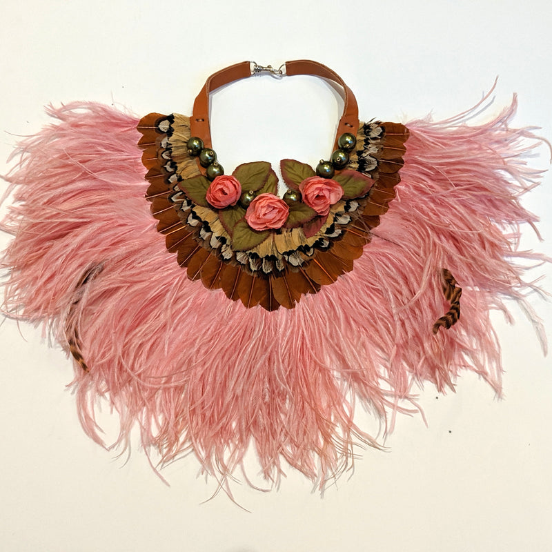 Pink feathered collar with leather, silk roses and faux pearls