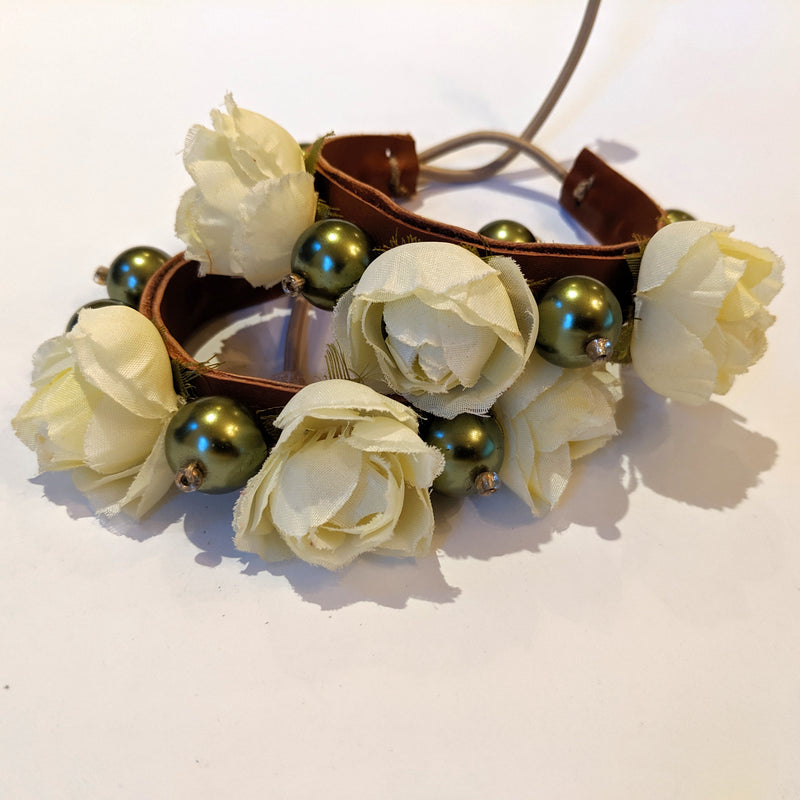 Pair of ivory silk rose bracelet with leather and faux pearls