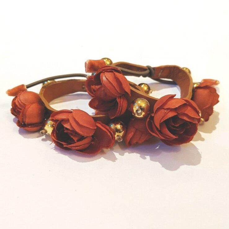 Single rust silk rose bracelet with leather and faux pearls