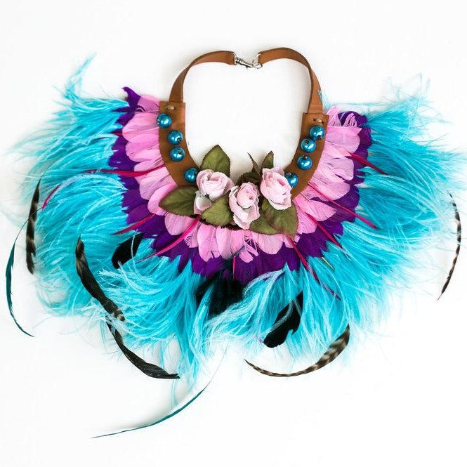Turquoise feathered collar with leather, silk roses and faux pearls