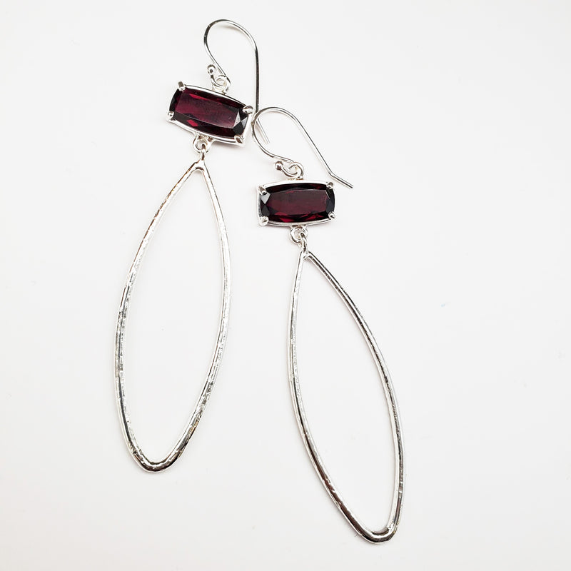 Garnet baguette, silver textured teardrop earrings