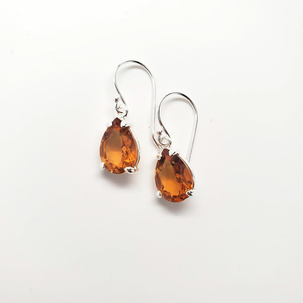 Orange quartz teardrop prong set earrings