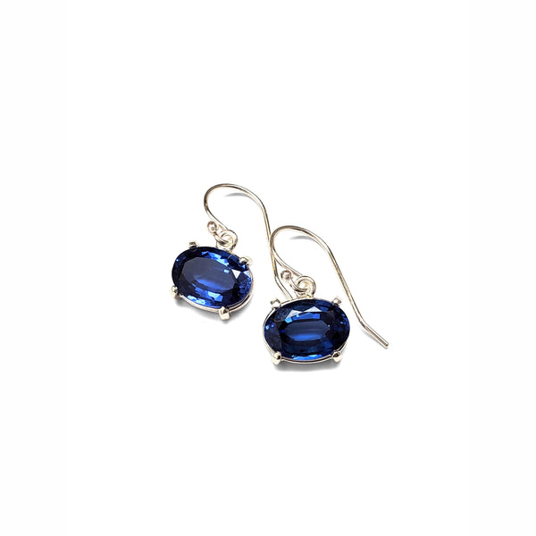 Sapphire quartz prong set earrings