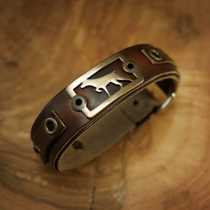 German Short Haired Pointer Bracelet- Bronze on Horween Leather