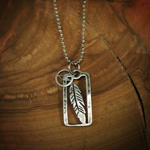 Traveller Feather Pendant with Compass Charm