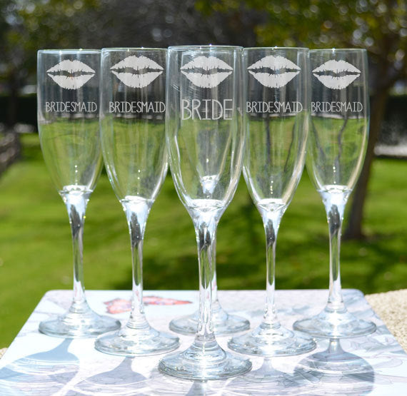 bridesmaid gift ideas / wedding glasses / toasting flutes / click to shop