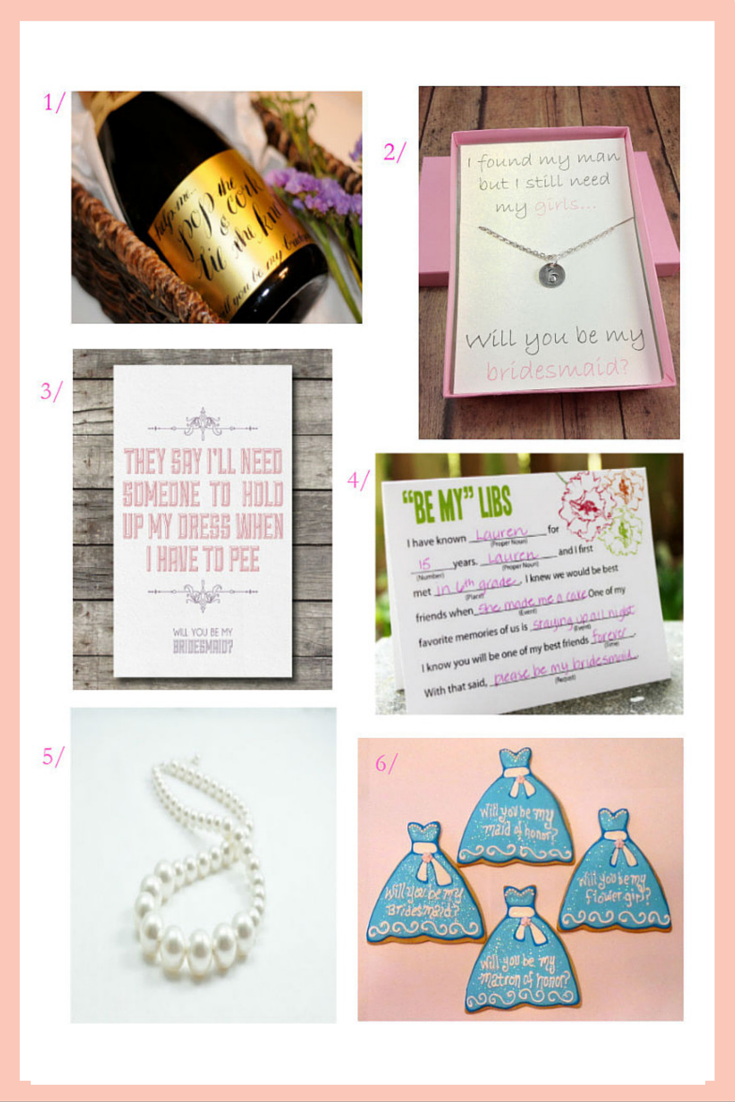 "Click for 6 creative ways to ask ""will you be my bridesmaid""..."
