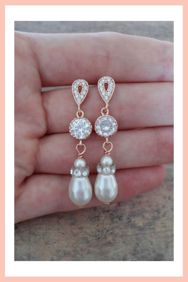 Rose gold wedding earrings