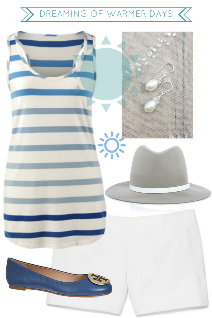 The perfect vacation outfit- white short shorts, blue striped tank, pearls and Tory Burch flats // Click for outfit details