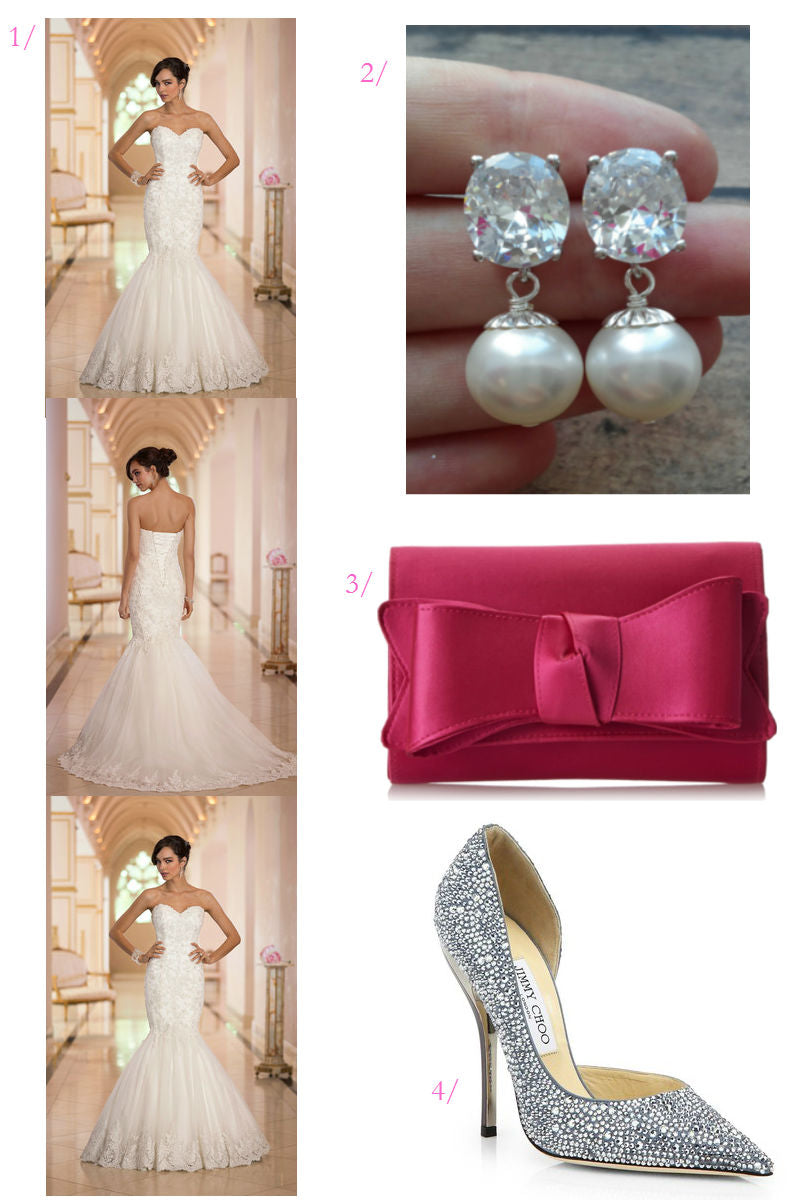 click for wedding style details // wedding dress // modern wedding day accessories with crystals and pops of pink
