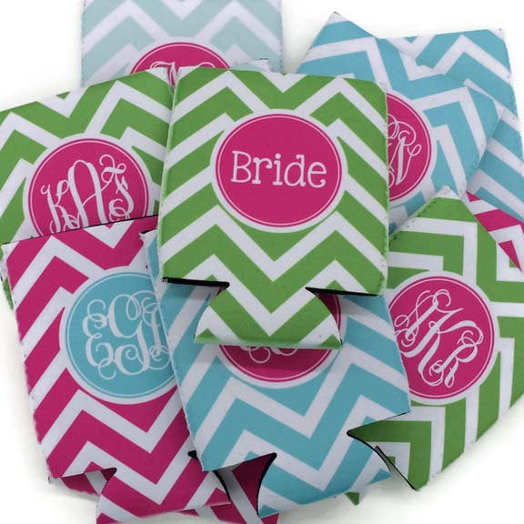 bridesmaid gift ideas / monogrammed koozie / click to shop