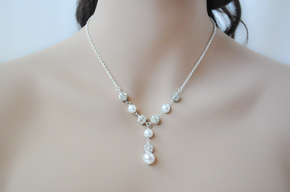Pearl Drop Necklace For A Cap Sleeve Wedding Dress