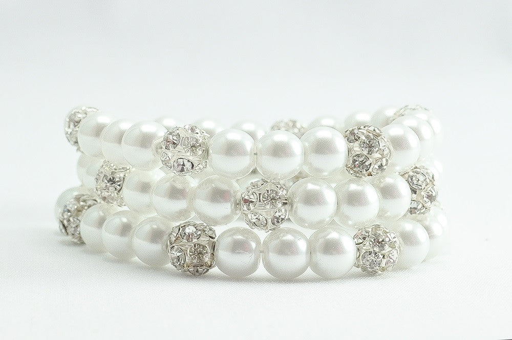 3 Strand Pearl and Rhinestone Bracelet For A Wedding Dress