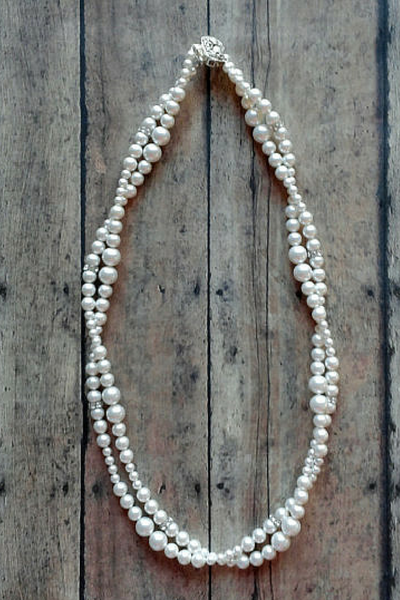 Double Strand Pearl Necklace For A Sweetheart Neckline