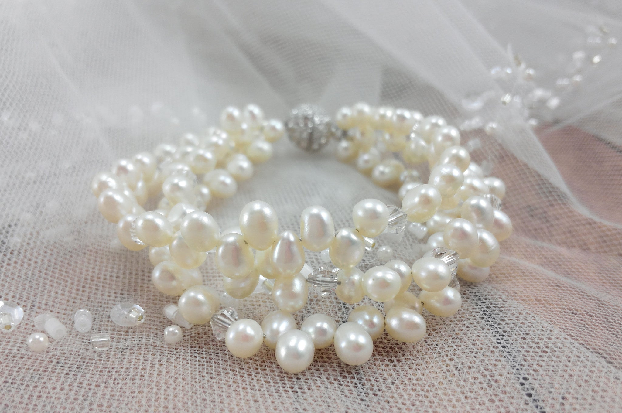pearl of iris rhinestones freshwater shop with set bracelet two img