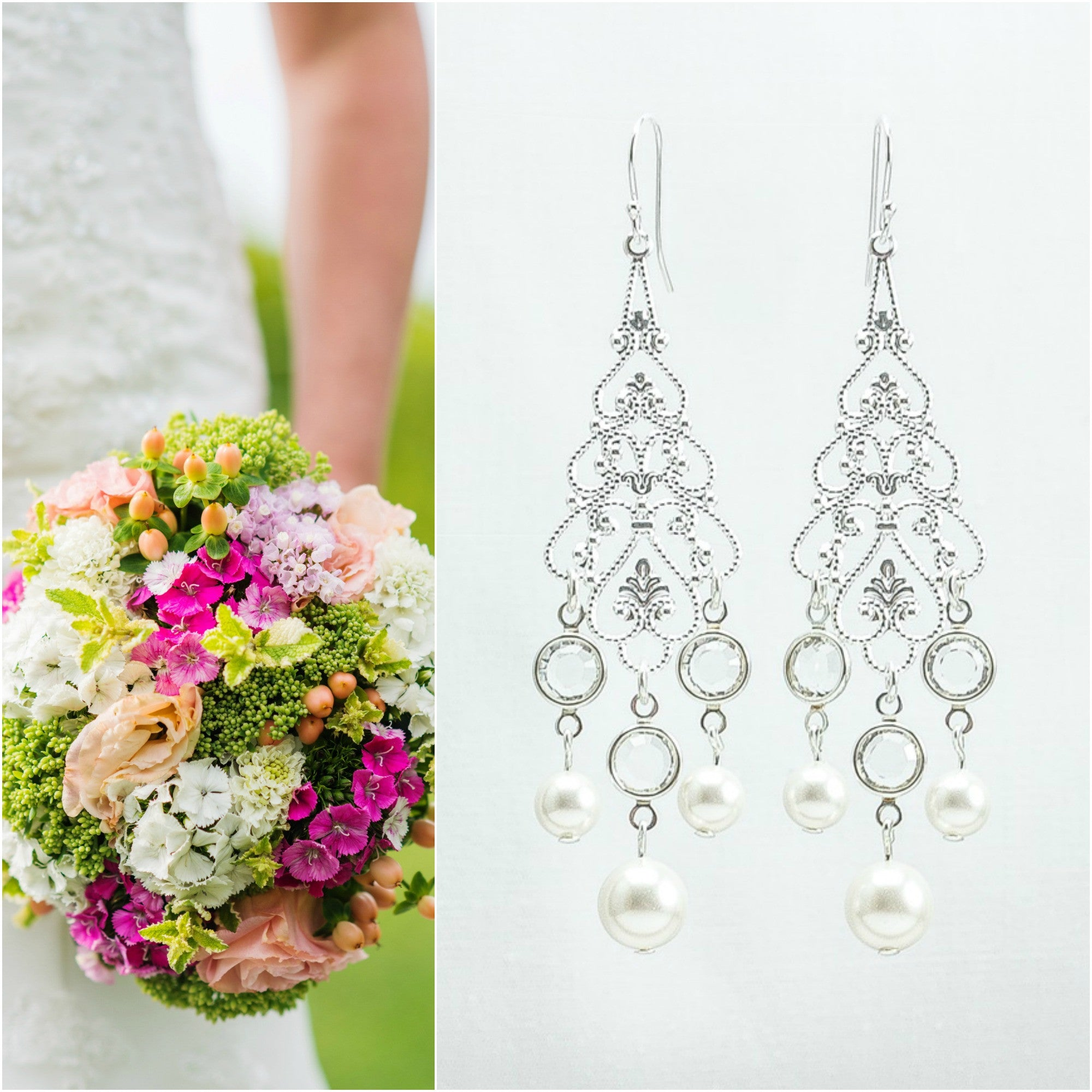 Chandelier Crystal Earrings // Big Wedding Earrings