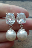 Bella earrings: Big crystal and pearl earrings // Statement Jewelry