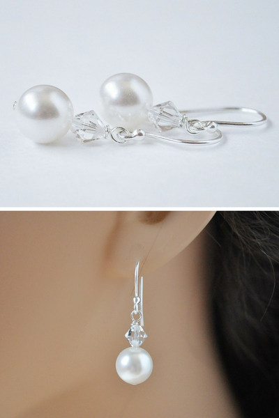 Jamie Earrings // Crystal Bride Earrings / Bridal Pearl Earrings / Pearl Wedding Jewelry