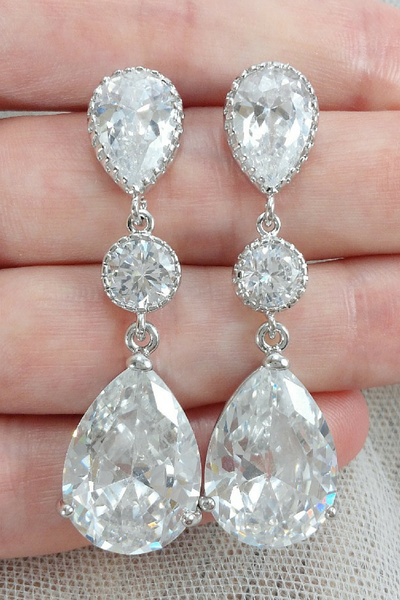 Ariel Earrings // Teardrop Crystal Chandelier Earrings / Bride Jewelry / Wedding Jewelry