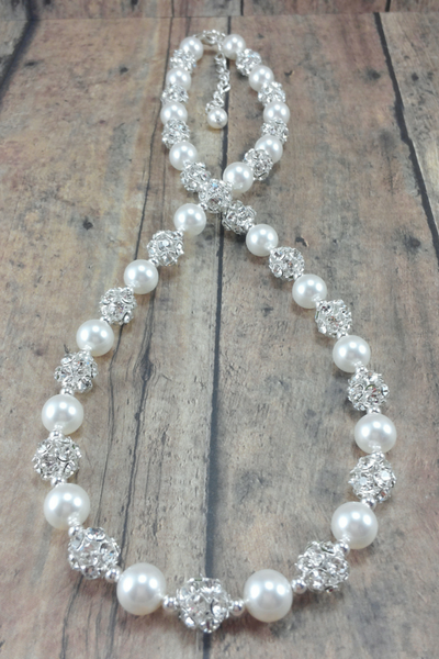 Pearl and Rhinestone Necklace For A Sweetheart Neckline