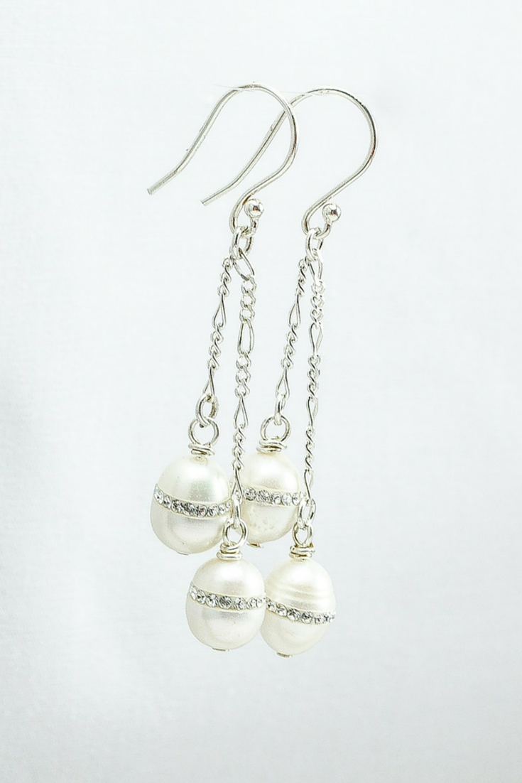 Kim earrings: Long freshwater pearl earrings with sterling silver accents