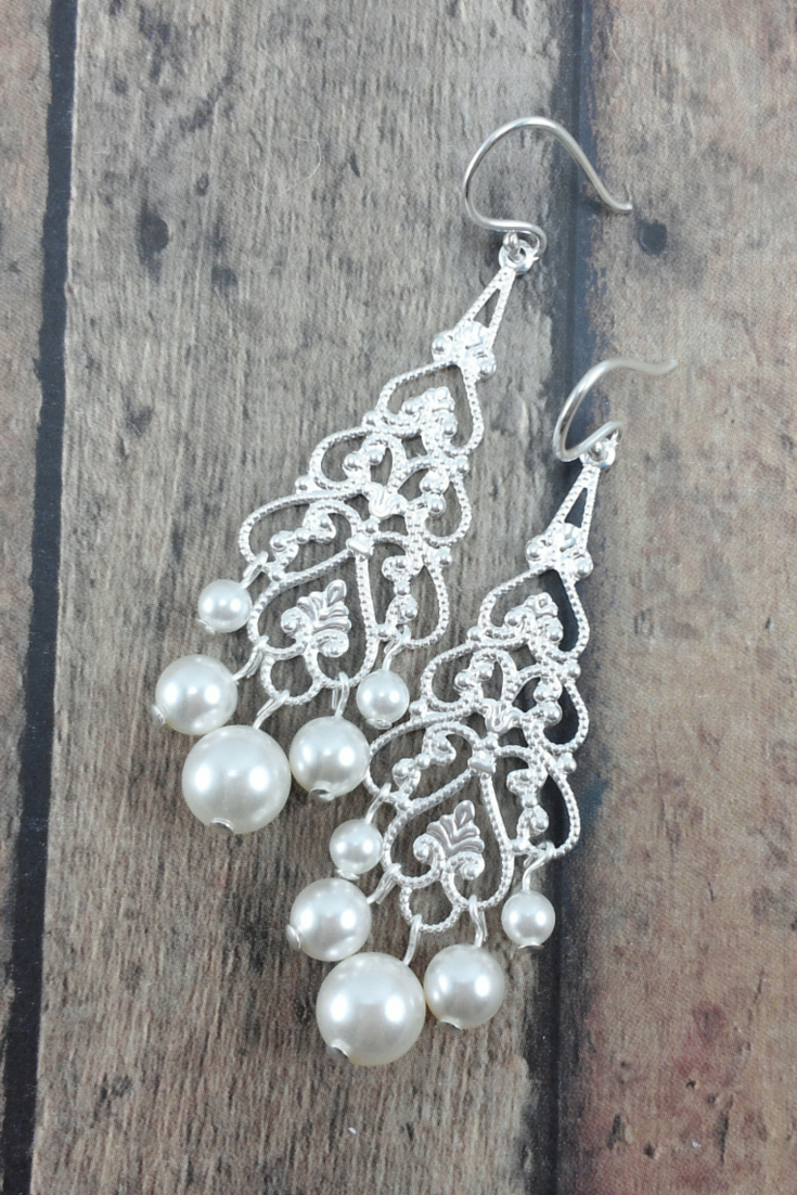 Filigree earrings with pearls to match wedding dresses amanda anna earrings pearl chandelier earrings bride earrings long wedding earrings arubaitofo Gallery