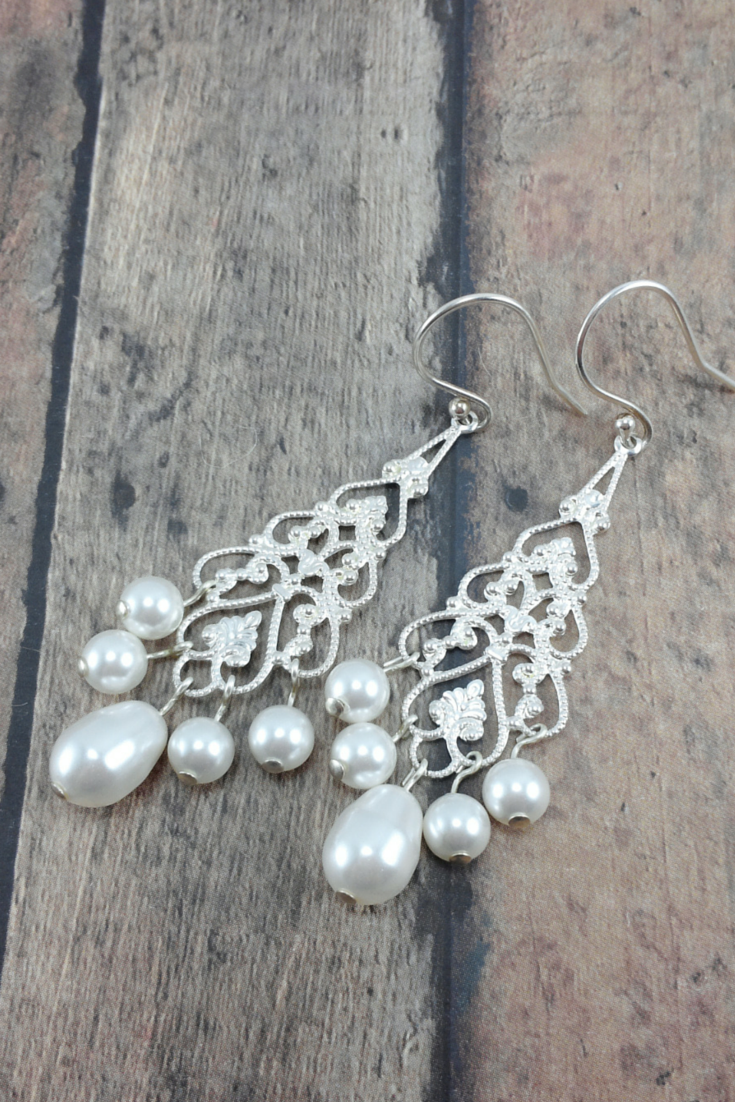 Bridal filigree chandelier earrings with teardrop pearl amanda annabelle earrings chandelier bridal earrings long pearl earrings pearl wedding earrings arubaitofo Gallery