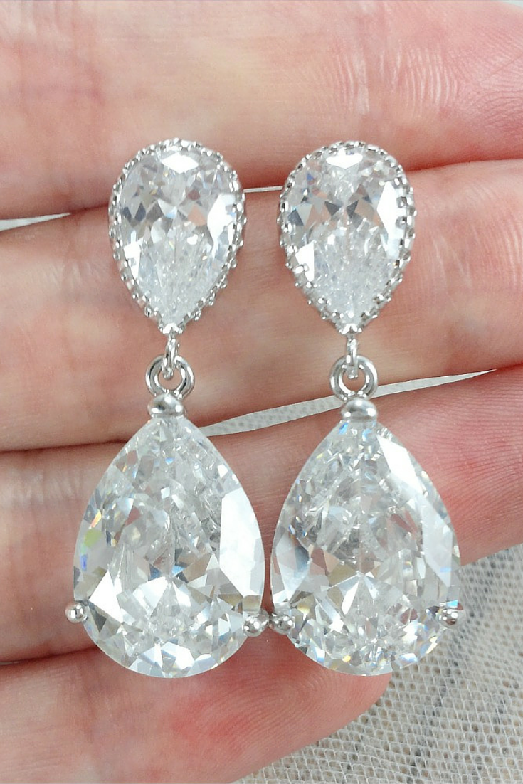 Cubic zirconia drop earrings to match wedding dresses amanda cinderella earrings bride earrings crystal chandelier earrings big bridal earrings arubaitofo Gallery
