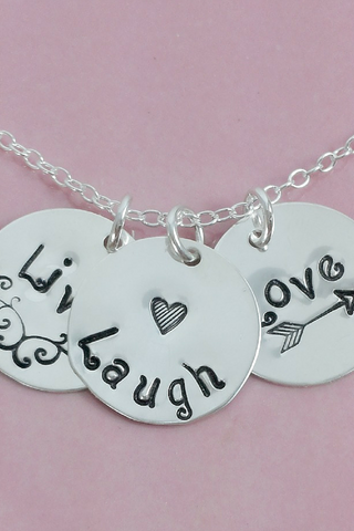 Live Laugh Love / Inspirational Jewelry / Silver Necklace for Women