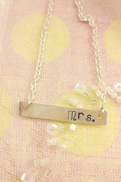 Mrs Necklace // Mrs Necklace / Bride Jewelry / Engagement Gift / Bridal Shower Gift