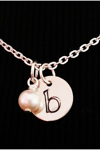 Silver Initial Necklace / Pearl Initial / Personalized Pearl Necklace