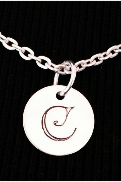 Sterling Silver Initial Necklace / Hand Stamped Initial Necklace