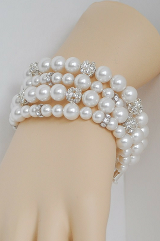 Multi Strand Pearl Bracelet For A Shabby Chic Wedding
