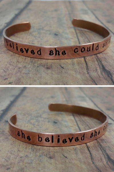 She Believed She Could So She Did Quote Copper Bracelet