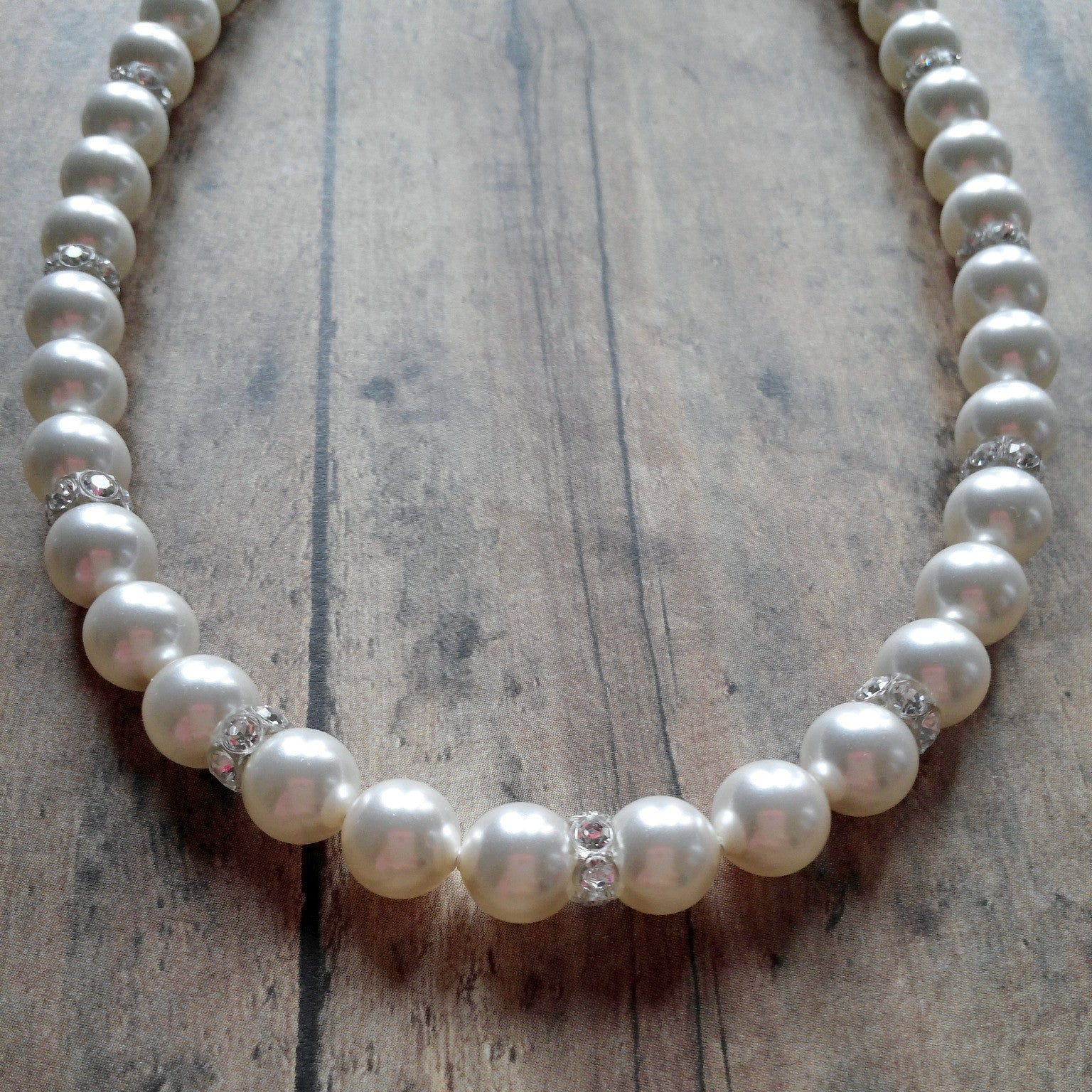 Pearl And Rhinestone Necklace Made For Wedding Dresses