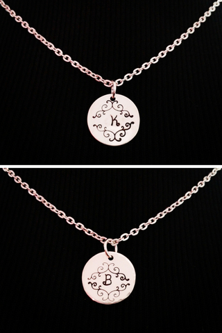 Hand stamped fancy initial necklace