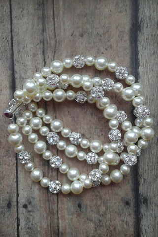 3 Strand Pearl Bracelet That Goes With A Wedding Dress