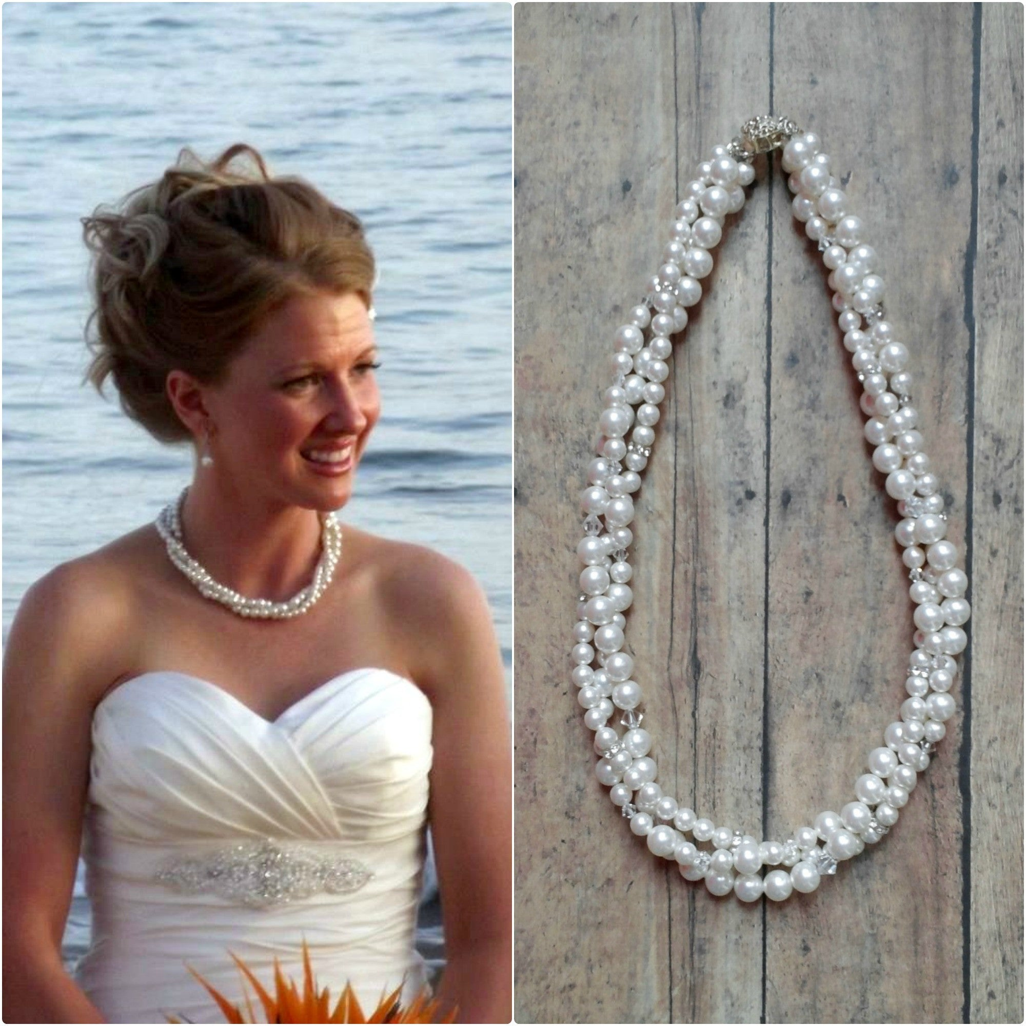 Multi Strand Pearl Necklace For A Lace Wedding Dress