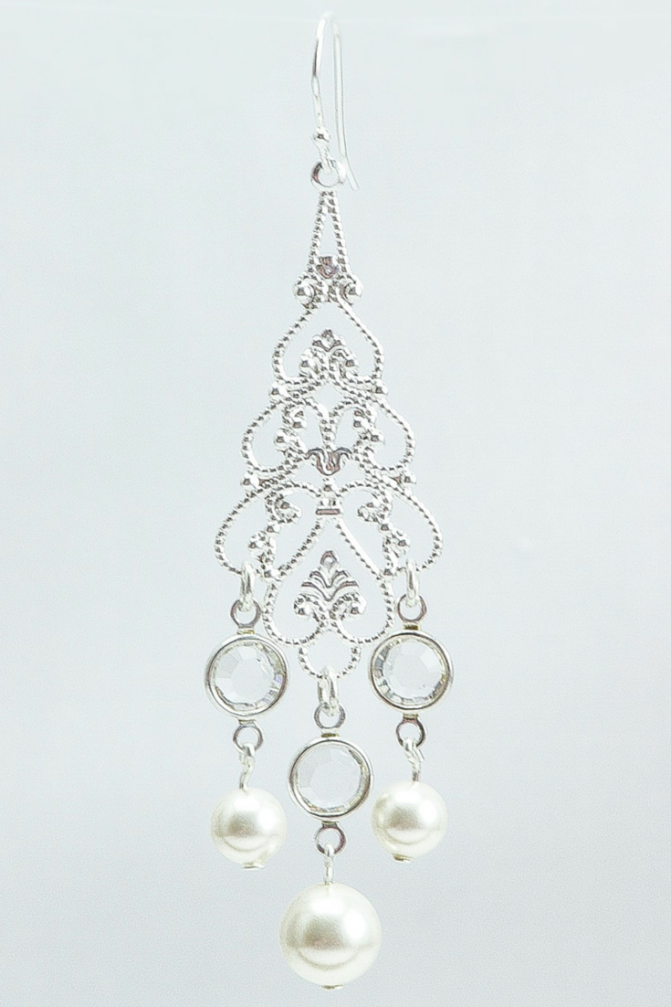 Crystal chandelier earrings to match wedding dresses amanda adele earrings bridal chandelier earring pearl wedding earring long pearl earring arubaitofo Choice Image