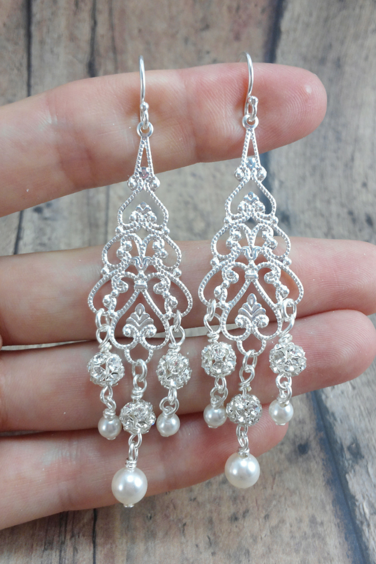 Adele Earrings // Bridal Chandelier Earring / Pearl Wedding Earring / Long Pearl Earring