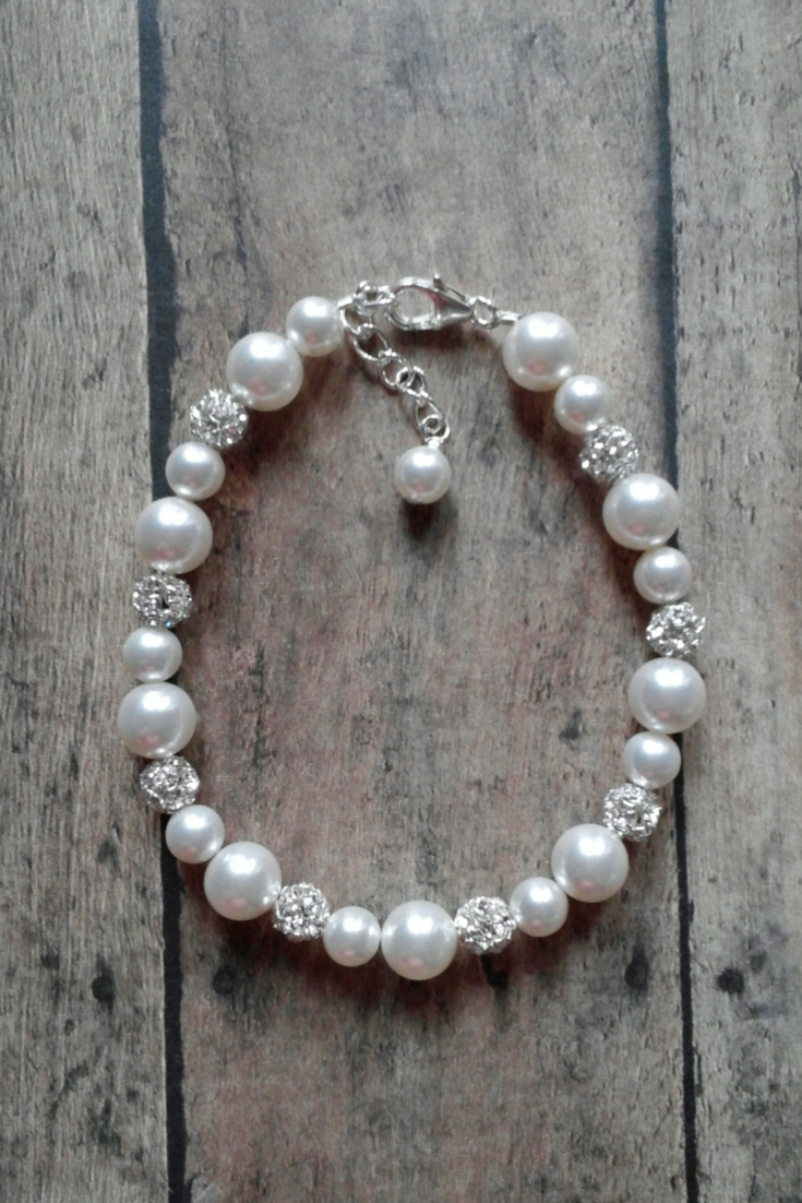 Single Strand Pearl and Rhinestone Bracelet for Brides