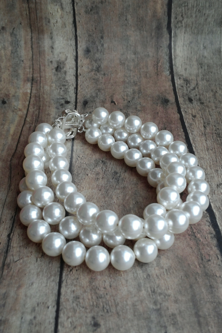 Three Strand Bridal Bracelet Using Big Swarovski Pearls