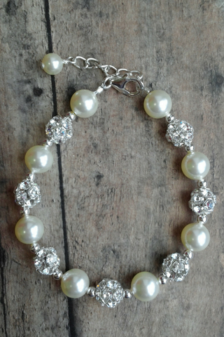 Pearl And Rhinestone Bracelet For A Shabby Chic Wedding